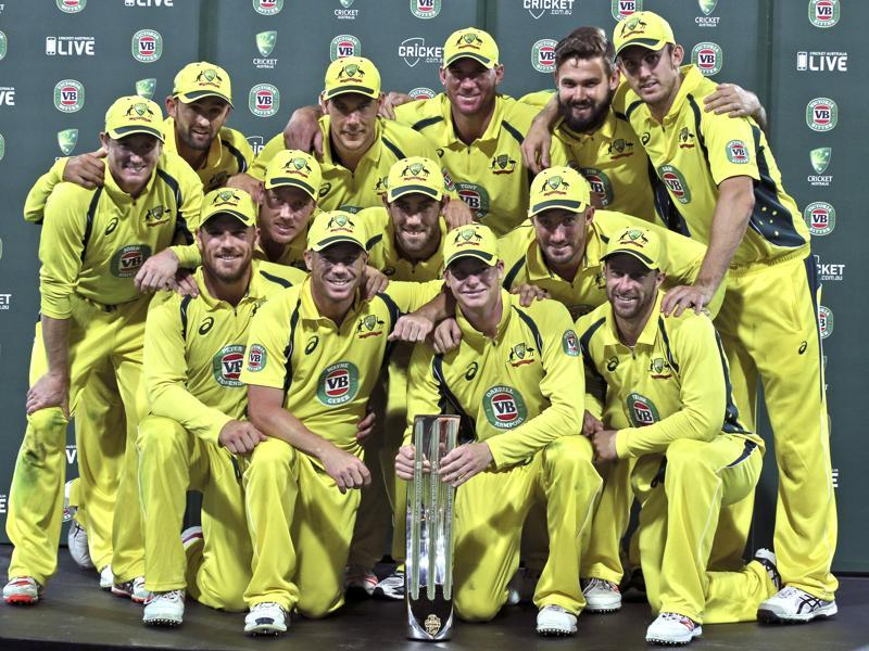 Australia cricket team pose as they celebrate winning their One Day International cricket series. (AP Photo)