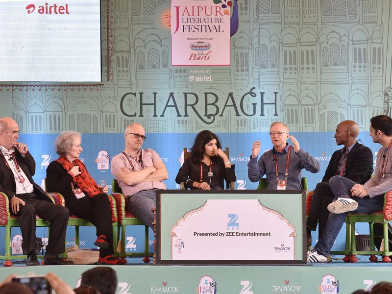 Left to right: Colm Toibin, Margaret Atwood, Aleksandar Hemon, Chiki Sarkar, David Grossman, Sulaiman Addonia and Sunjeev Sahota during the session The Global Novel at Jaipur. (HT Photo)