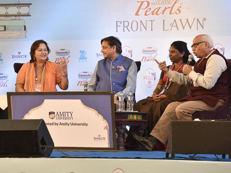 Left to right: Pinky Anand, Shashi Tharoor, P Sivakami and Sudheendra Kulkarni during the session The Need to Listen: Dialogue versus Rhetoric at Jaipur. (HT Photo)