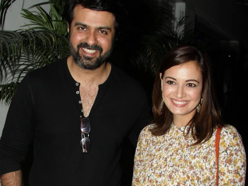 Harman Baweja and Dia Mirza attend a special screening of Saala Khadoos in Mumbai.  (AFP)