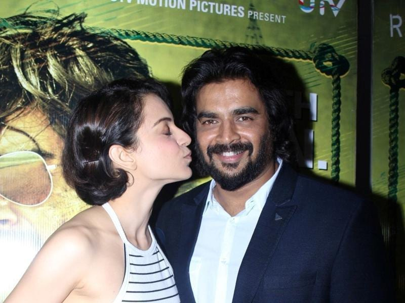 R Madhavan and his Tanu Weds Manu co-star Kangana Ranaut at the special screening of Saala Khadoos in Mumbai. (IANS)