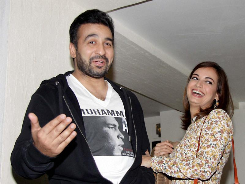 Dia Mirza and Raj Kundra at the screening of Saala Khadoos in Mumbai  (PTI)