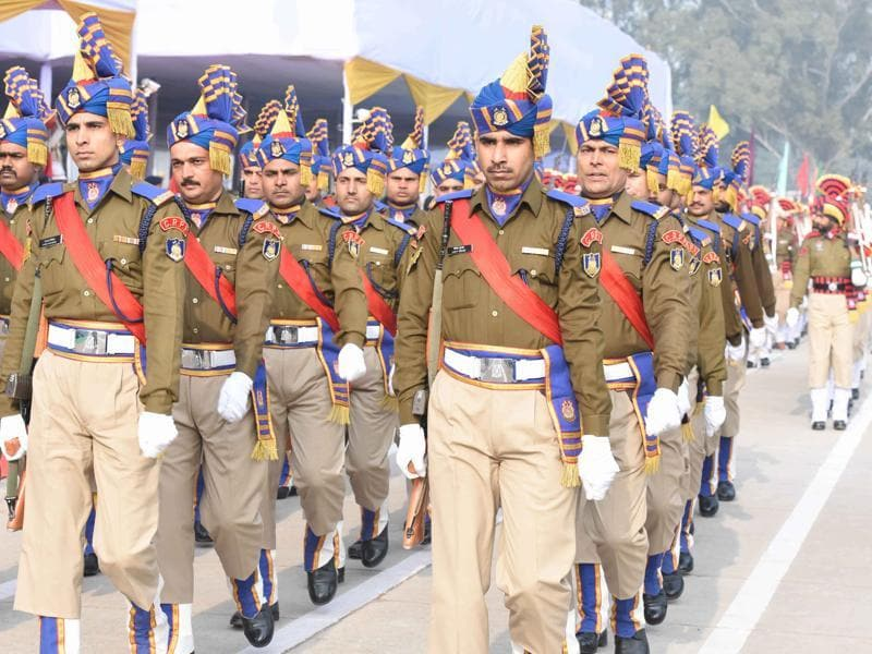 Police personnel participating in at Republic Day Parade in Parade Ground in Sector 17, Chandigarh. (Sanjeev Sharma/HT Photo)