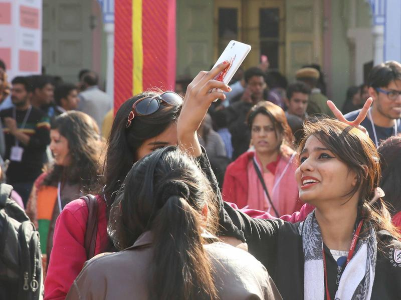 Visitors click selfies on the last day of Jaipur Literary Festival, at Diggi Palace, in Jaipur on Monday, 25 January 2016.  (Photo by Himanshu Vyas/Hindustan Times)