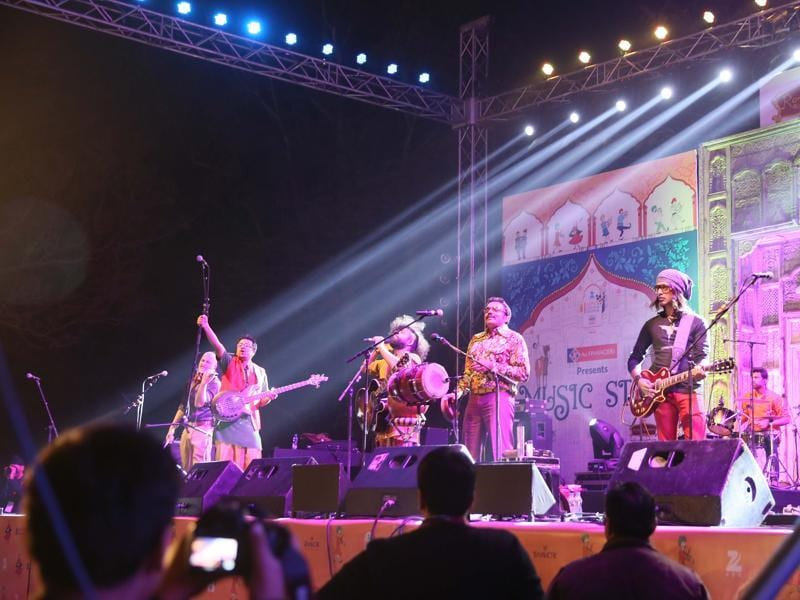 A band performs during a musical evening concert on the fourth night of Jaipur Literary Festival, at Clarks Amer Hotel, in Jaipur (Rajasthan).  (Photo by Himanshu Vyas/Hindustan Times)