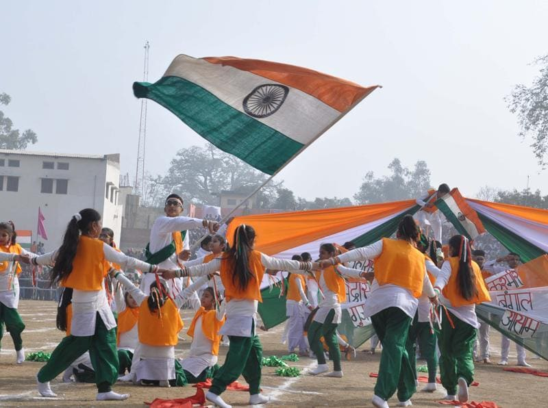 School Students perform on the occasion of 67th Republic Day celebration function held at Guru Nanak Stadium in Amritsar. (Sameer Sehgal/HT Photo)