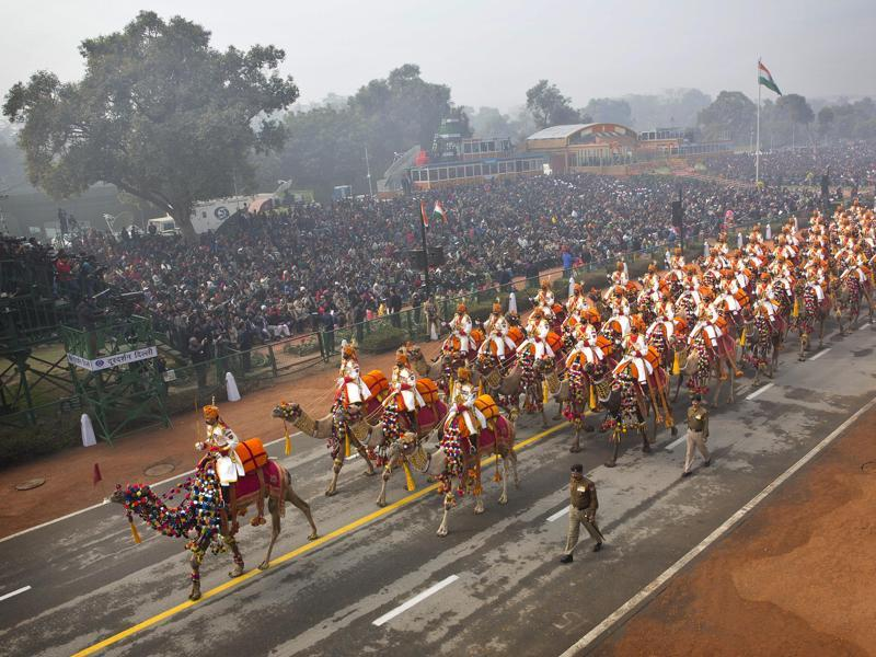 A contingent of camel mounted soldiers of the Border Security Force (BSF) march down Rajpath during the Republic Day parade in New Delhi. (AP Photo)