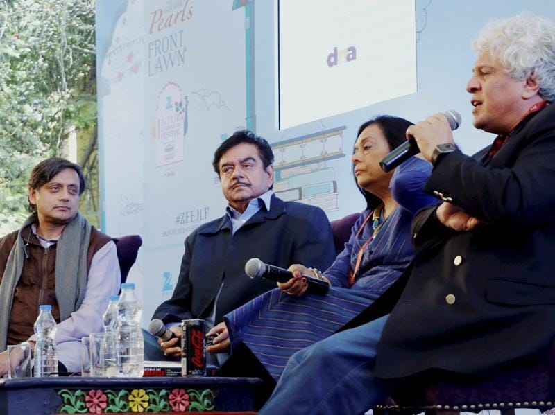 Bollywood actor & BJP Leader Shatrughan Sinha with Congress MP Shashi Tharoor, Bharathi S. Pradhan and Suhel Seth attending a session at the Jaipur Literature Festival at Diggi Palace in Jaipur on Monday. (PTI)