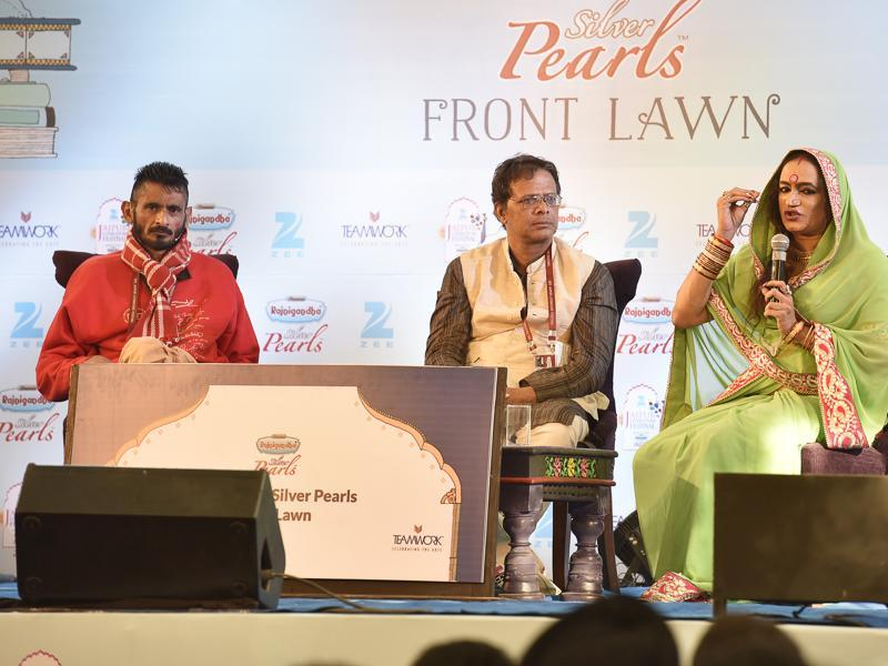 Laxmi Narayan Tripathi (R), Jerry Pinto (C), and R.Raj Rao (L) during the session