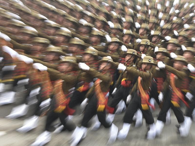 Indian Army's Assam Rifles march down Rajpath during the Republic Day parade, in New Delhi.  (Vipin Kumar/HT Photo)