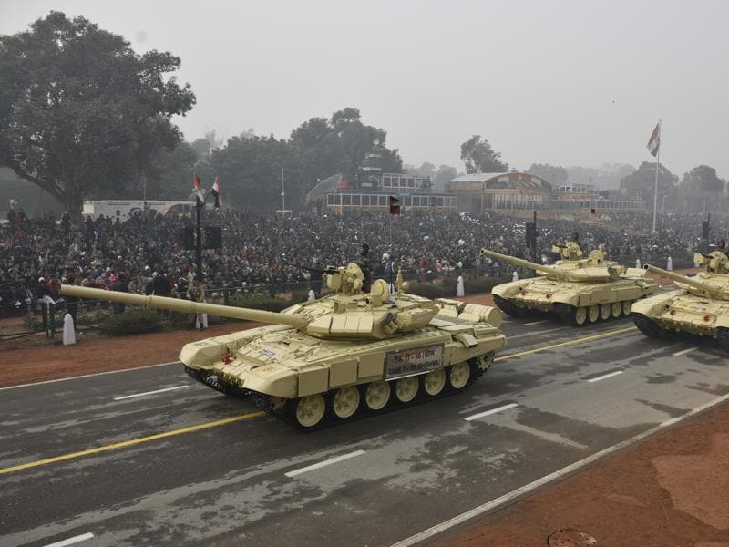 T-90 Bhishma Tanks were showcased during the parade as India displayed its military might on the 67th Republic Day, in New Delhi.  (Vipin Kumar/HT Photo)