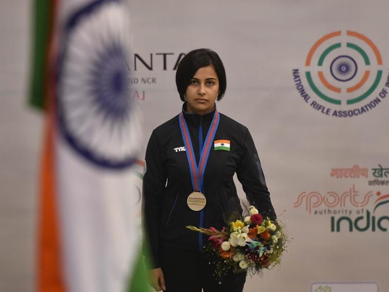 Sidhu on the podium after receiving her gold medal.  (Ravi Choudhary/ HT Photo)