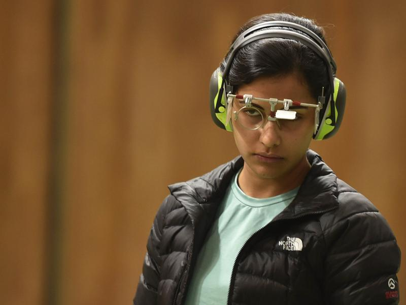 Sidhu is an image of concentration as she gets ready to take her shot during the final. (Ravi Choudhary/ HT Photo)