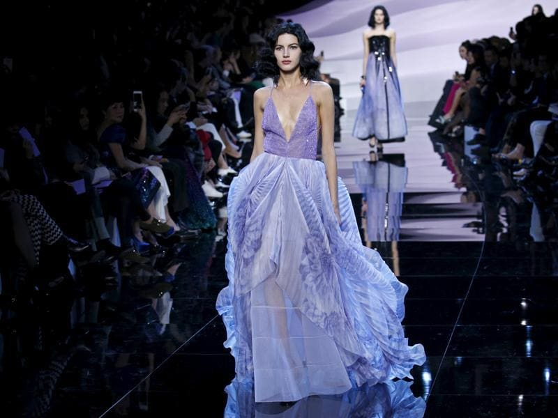 Giorgio Armani set out to move his couture clients with mauve when he dedicated an entire collection to the colour at his Haute Couture Spring/Summer 2016 fashion show in Paris. (REUTERS)