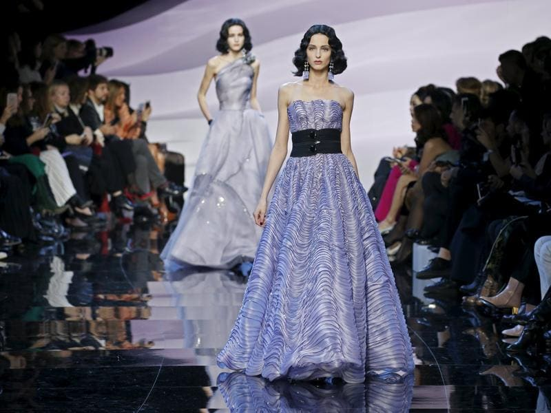 Paying little interest to the fashion world's disdain for the hue that's inspired a million curtain valances, the Italian stalwart reached peak purple with a collection that saw everything from reefer jackets to thigh skimming blouson shorts and shimmering bustier gowns on offer in the shade.  (REUTERS)