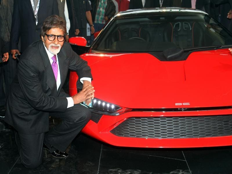 Bollywood actor Amitabh Bachchan unveils India's first indigenous supercar DC Avanti at the 11th Auto Expo at Pragati Maidan in New Delhi. (MOhd Zakir/HT File Photo)