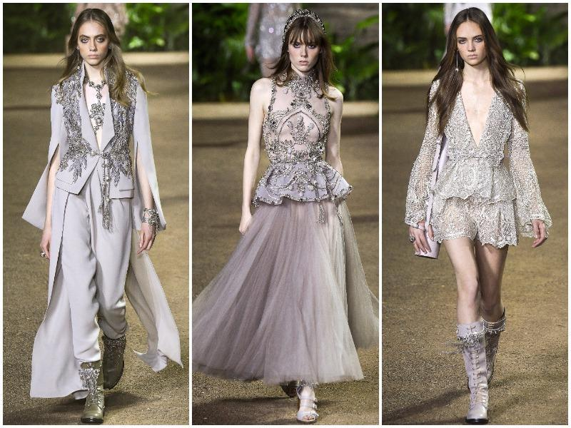 From the raw and dusty floor to the sun-faded lacy dresses with dewy sparkles, the designer made his collection younger, looser - and gentler. (AFP/ AP/ Reuters)