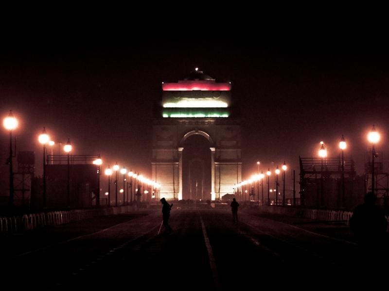 India Gate illuminated after Beating Retreat ceremony. (Sonu Mehta/HT Photo)