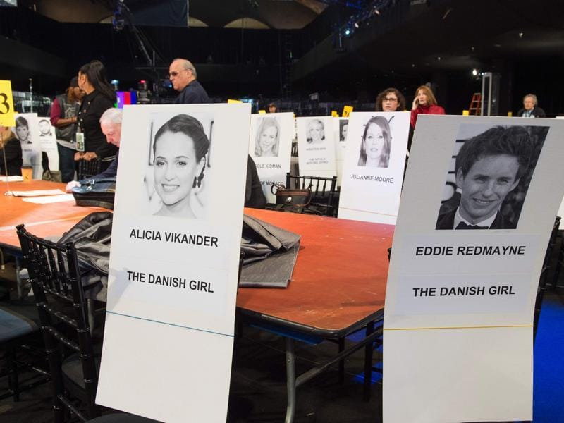 Name cards of The Danish Girl cast members Alicia Vikander and Eddie Redmayne are displayed during the 22nd Annual Screen Actors Guild Awards. (AFP)