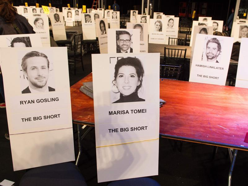 Name cards of the Big Short cast are displayed during the 22nd Annual Screen Actors Guild Awards. Ryan Gosling, Marisa Tomei, Steve Carell and Hamish Linklater will be table-mates. (AFP)