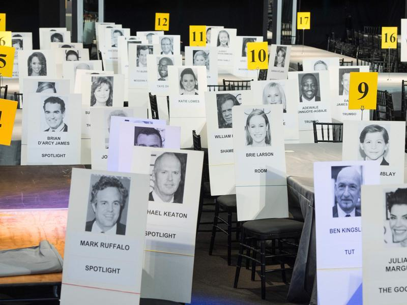 The name cards for the cast of Room and Spotlight are displayed during the 22nd Annual Screen Actors Guild Awards. (AFP)