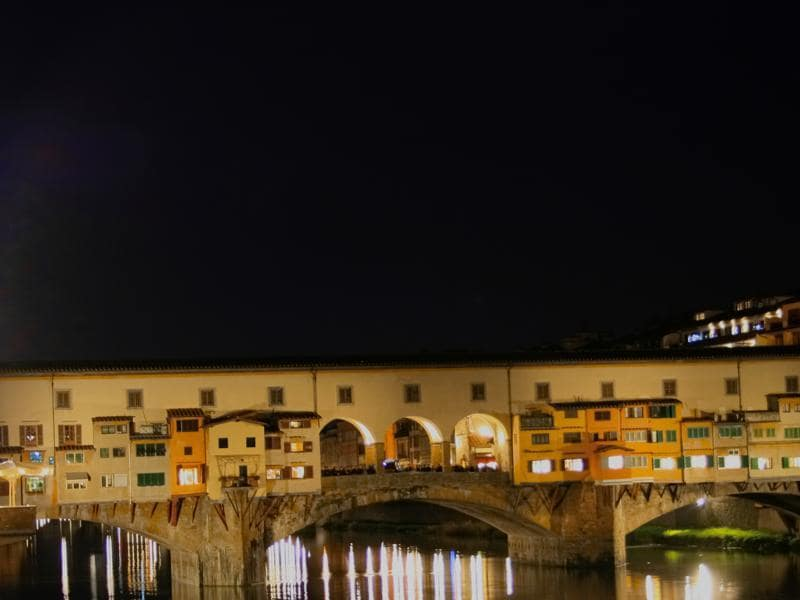 The Ponte Vecchio in Florence lights up at night, with tourists thronging to the unique bridge to enjoy the lively atmosphere.  (Picture courtesy: Mad Art Photography)