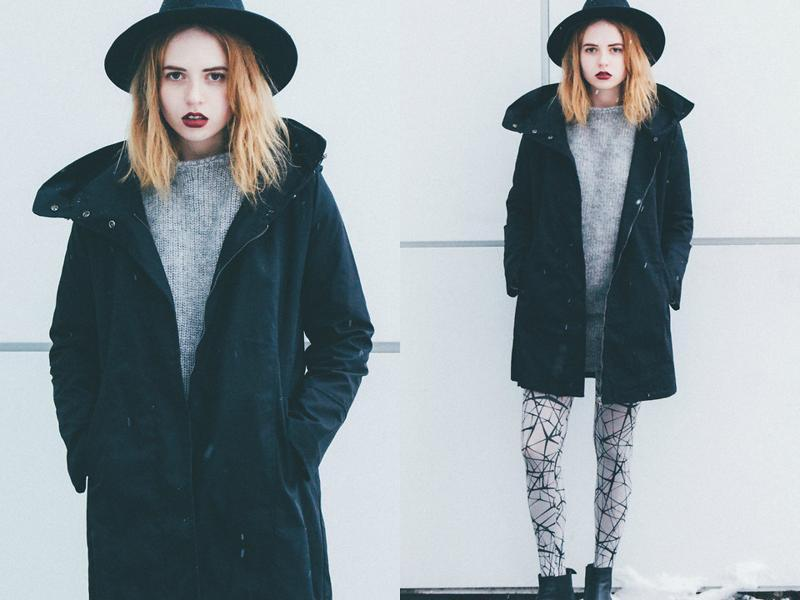 Here is she again in an oversized jacket.  (lookbook.NU)