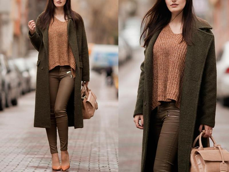 Viktoriya, fashion blogger and photographer from Istanbul, Turkey in a comfy green coat. (lookbook.NU)