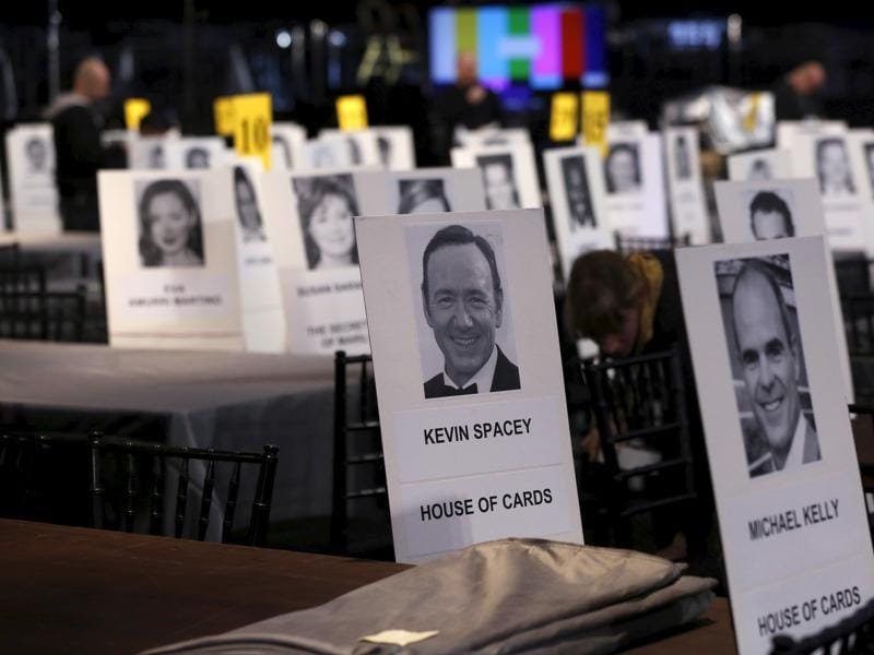 Seating placards of the House of Cards cast members Kevin Spacey and Michael Kelly are pictured during preparations for the 22nd annual Screen Actors Guild Awards at the Shrine Auditorium in Los Angeles. (REUTERS)