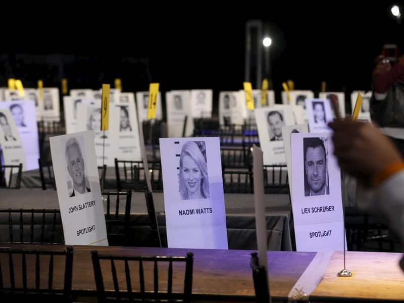 Seating placards of Spotlight cast mates Liev Schreiber and John Slattery are pictured during preparations for the 22nd annual Screen Actors Guild Awards at the Shrine Auditorium in Los Angeles. (REUTERS)