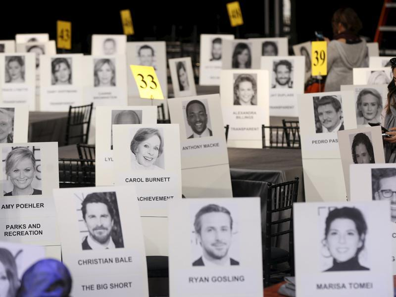 Seating placards are pictured during preparations for the 22nd annual Screen Actors Guild Awards at the Shrine Auditorium in Los Angeles, California. (REUTERS)