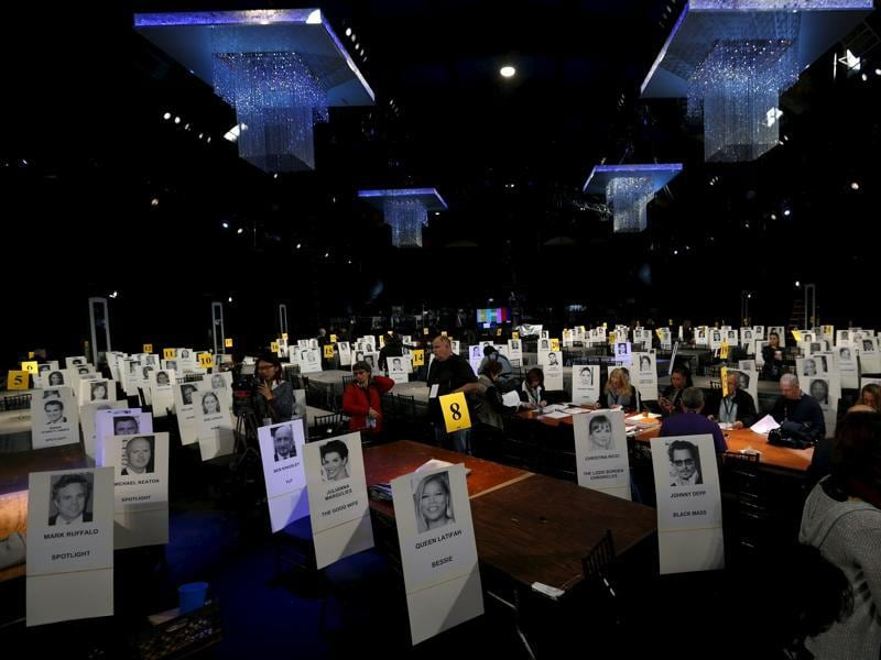 Seating placards are pictured during preparations for the 22nd annual Screen Actors Guild Awards at the Shrine Auditorium in Los Angeles. The Awards will be given out in Los Angeles on January 30. (REUTERS)
