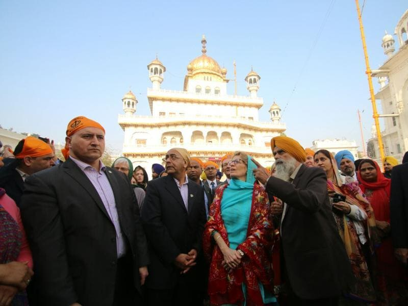 Shiromani Gurdwara Parbandhak Committee had said it would not welcome her with a 'siropa' (robe of honour) during her visit to the Golden Temple as she is a supporter of same-sex marriages. (Sameer Sehgal/HT Photo)