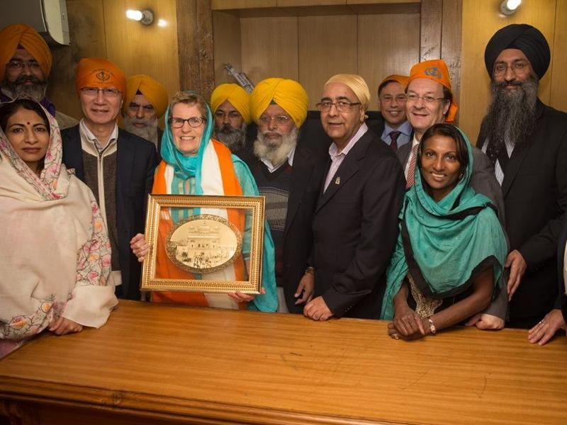 Wynne later tweeted this picture of being honoured at Golden Temple. She was there with other delegates.    (Photo courtesy-Kathleen Wynne's Twitter handle )