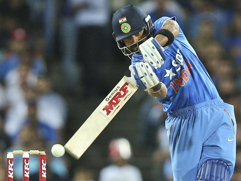 India's Virat Kohli plays a shot during their T20 International cricket match against Australia. (AP Photo)
