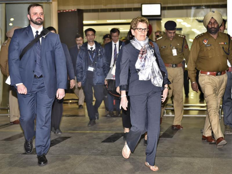 Kathleen Wynne had landed at Sri Guru Ram Dass Jee International Airport, Amritsar along with other delegates on Saturday.  (Gurpreet Singh/HT Photo)