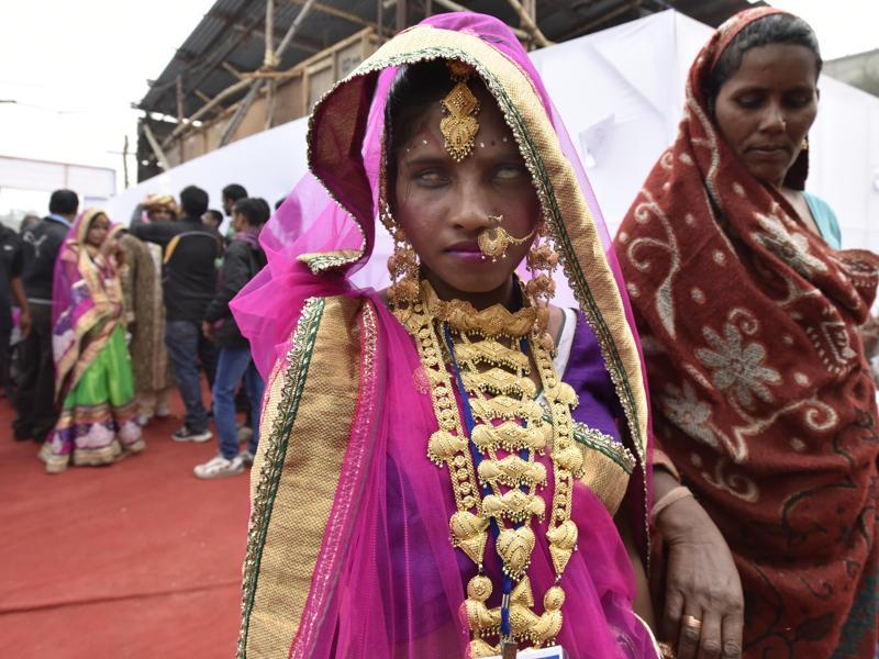 The mass marriage ceremony is organised twice a year . (Virendra Singh Gosain/HT)