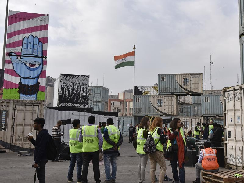 It is in collaboration with the Container Corporation of India, and has used as its canvas the parking lot of the 55-acre depot, where close to 2,000 containers are handled every day by over 10,000 employees.   (Sanjeev Verma/ HT Photo)