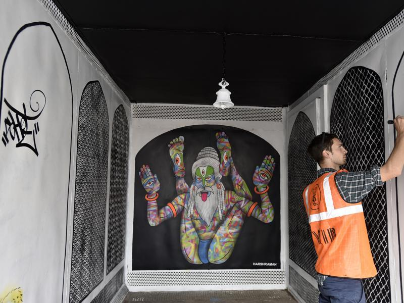The project is part of a street art festival curated by Delhi-based organisation St+Art India Foundation. It will be on throughout February.  (Sanjeev Verma/ HT Photo)