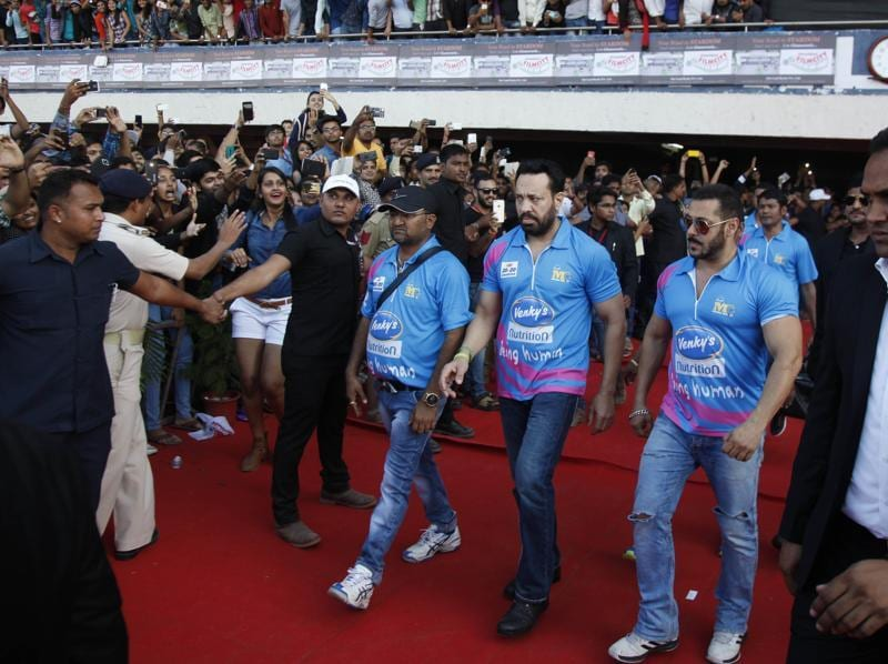 Bollywood actor Salman Khan arrives for the Celebrity Cricket League in Ahmedabad on Saturday.  (AP)