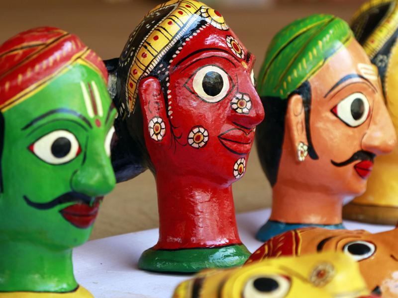 Artwork from Telangana at the Surajkund fair on Tuesday. (HT photo)