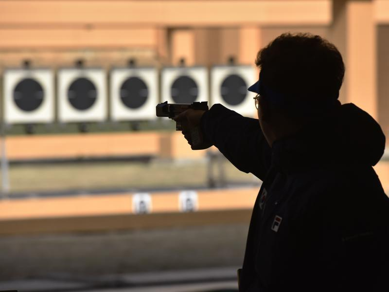 Scenes the Asian Olympic Qualifying Competition at Dr Karni Singh Shooting Range. (HT Photo)