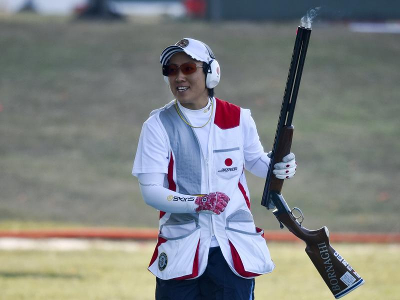Japanese Ishihara Naoko wins gold medal in Skeet Women Medal match during the 10M Pistol Olympic Qualifying Competition. (HT Photo)