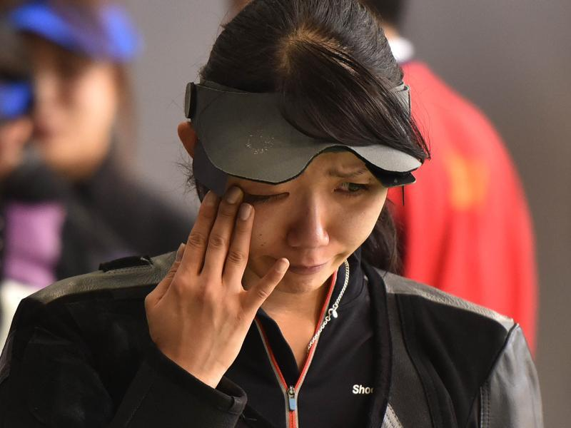 Japanese Shooter SHIMIZU Ayano after losing match during the Asian Olympic Qualifying Competition. (HT Photo)