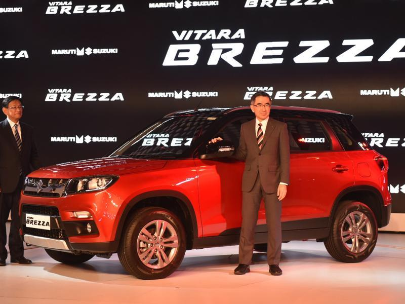 Automobile major Maruti Suzuki on Wednesday unveiled its compact sports utility vehicle Vitara Brezza at the Auto Expo 2016 in Greater Noida on Wednesday. (Ravi Choudhary/HT Photo)