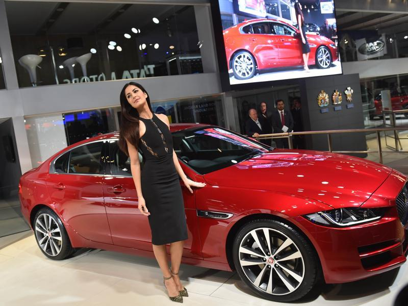 Actor Katrina Kaif with Jaguar's compact sedan 'XE' at the 2016 Auto Expo in Greater Noida, India, on Wednesday. (Ravi Choudhary/HT)