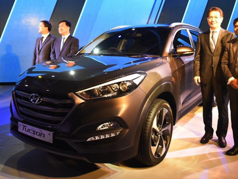 Hyundai Motor India on Wednesday showcased its global sports utility vehicle - the Tucson - at the Auto Expo 2016 show being held in Greater Noida on Wednesday. (Ravi Choudhary/HT Photo)