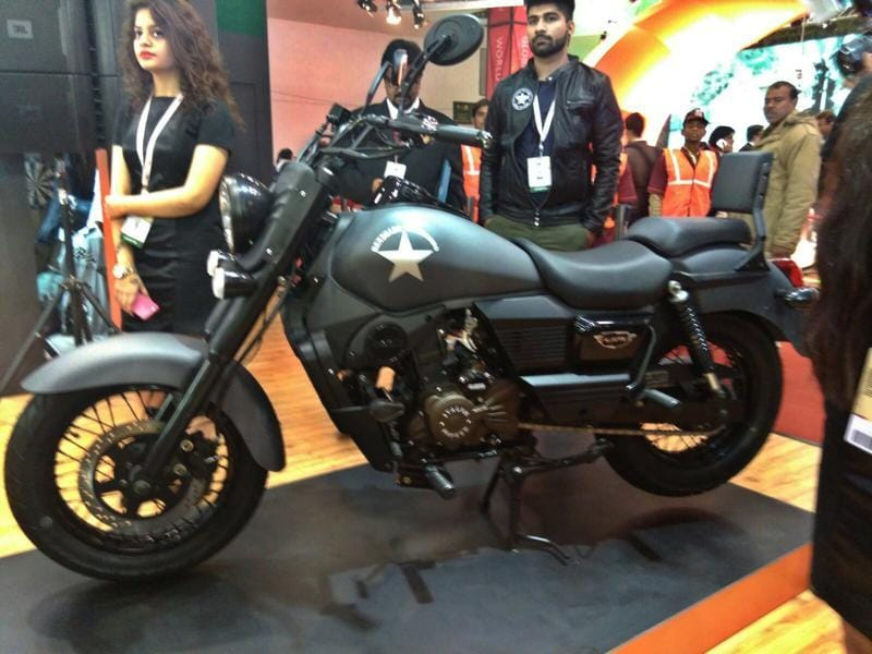 UM Motorcycles, the Indian arm of a US motorcycle maker, launched three Renegade cruiser motorcycles at the Auto Expo 2016 on Wednesday. Pictured above is the  Renegade Commando.  (Gulshan Kumar/HT Photo)