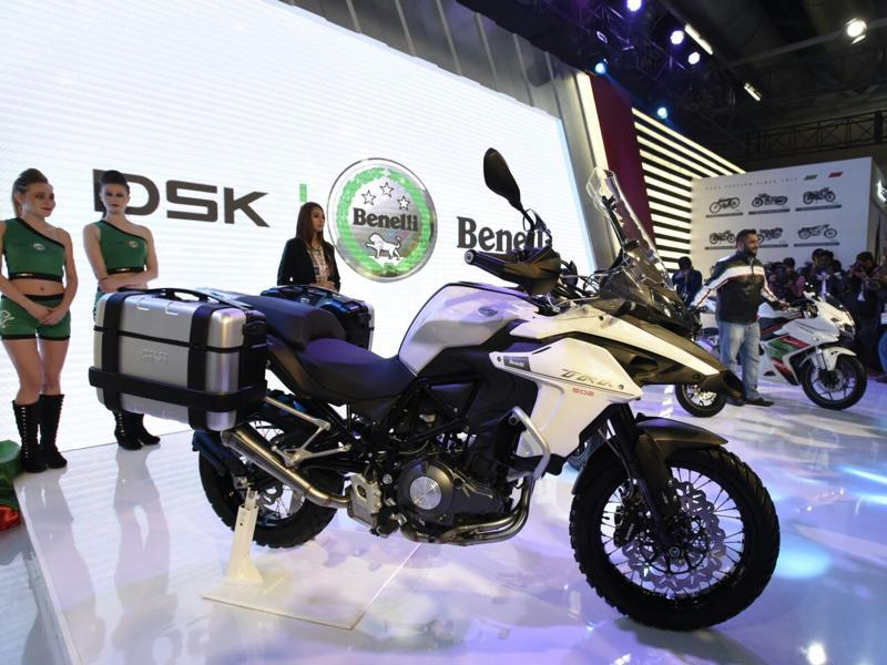 DSK Benelli 502 at the Auto Expo 2016 in Greater Noida on Wednesday.   (Mohd Zakir/HT Photo)
