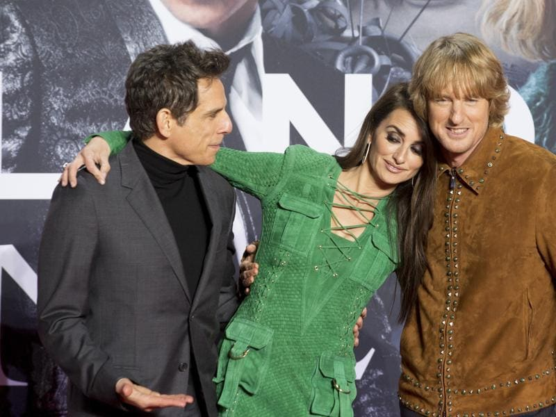 Actors Ben Stiller, Penelope Cruz and Owen Wilson, pose for the media as they arrive for German premiere Zoolander No 2 in Berlin. (AP)